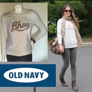 """Trendy """"AHOY"""" Sequined Boho Knit Top Sweater"""